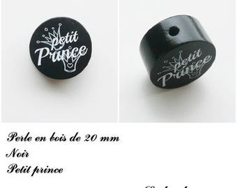 Wooden bead with 20 mm flat bead, little prince, Crown: black
