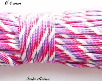 Cord / Paracord 550 4 mm: white purple pink red