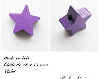 18 x 18 mm wooden bead, bead flat Star: purple