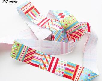 Ribbon elastic multicolote dots stripe diamond 23 mm sold by 50 cm