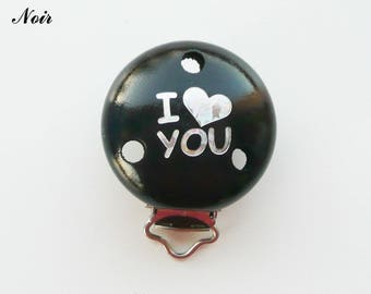 Clip / buckle, wooden pacifier Clip, black: I LOVE YOU
