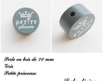 20 mm wooden bead, Pearl flat, little Princess: gray