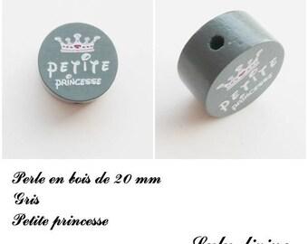 20 mm wooden bead, Pearl flat, little Princess: gray