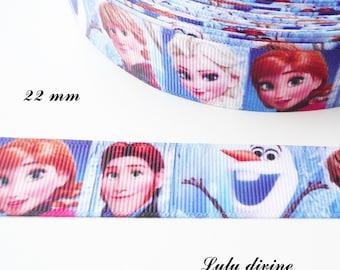 Ribbon grosgrain effect portrait Elsa Anna their princes Olaf 22 mm sold by 50 cm