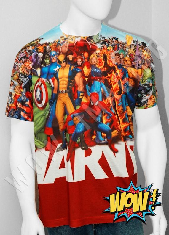 Marvel Mens Multi Heroes Short Sleeve Woven Shirt