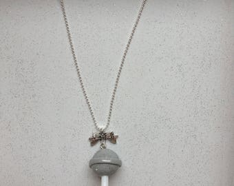 Lollipop necklace gray polymer clay