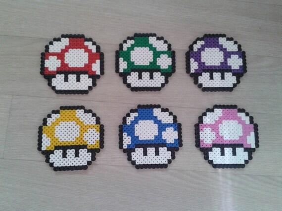 Set Of 6 Coasters Mario Mushroom Hama Bead Etsy