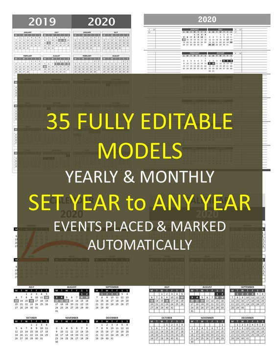Any Year Event Calendar Excel Template Automated Color Etsy