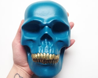 Painted skull head wall sculpture blue acrylic calavera skull home wall decor