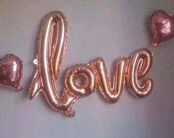 """Feuille d'amour de ligatures ballons 40""""- Or Rose ballons centres Bachelorette Party décoration idées nuptiales de douche de mariage"""