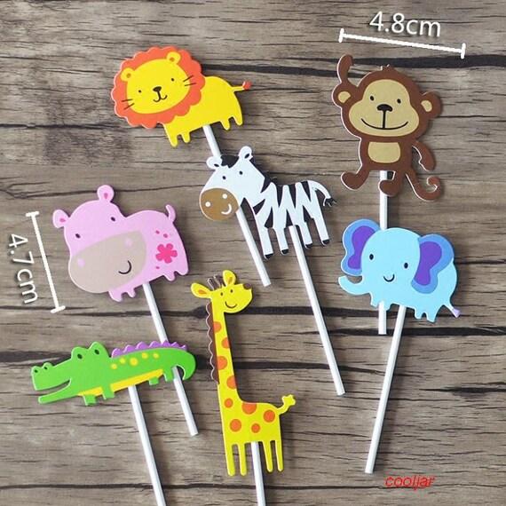 7pcs Baby Shower Safari Wildlife Animal Cake Topper Kids Etsy