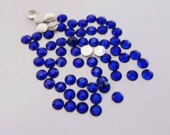 100 half rhinestone paste dark blue 4mm