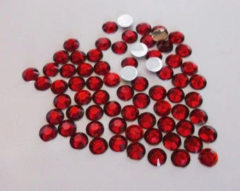 50 half rhinestone paste red 5mm