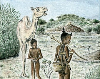 Limited number REPRODUCTION of my unique and original watercolor: young shepherds camels Abéché, Chad.