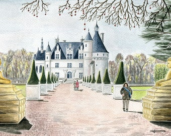 Unique and original watercolor: the Chateau de Chenonceau in spring 2012
