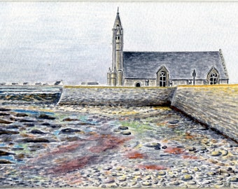 Limited number REPRODUCTION of my unique and original watercolor: our Lady of joy, Penmarch', Finistère, Brittany.
