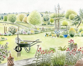 Reproduction of my original watercolor: spring Brionnais, France.