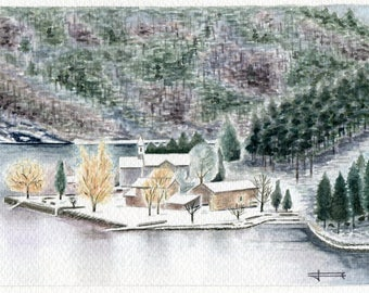 Unique and original watercolor: Les camaldolese, Grangent dam in winter.