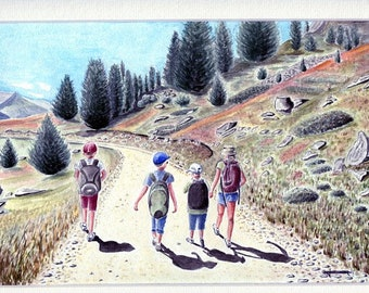Limited number REPRODUCTION of my unique and original watercolor: walk in the mountains.