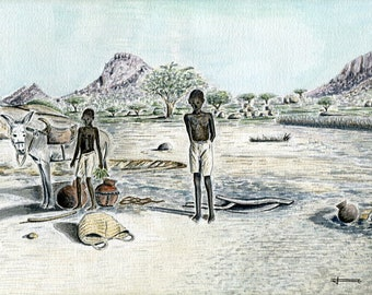 Limited number REPRODUCTION of my unique and original watercolor: water well, Abéché, Chad young dealers.