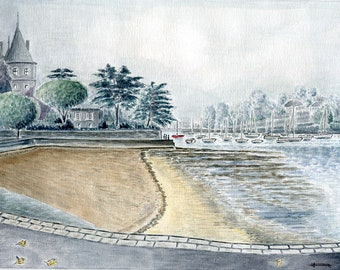 Limited number REPRODUCTION of my unique and original watercolor: Pornic, Brittany, France.