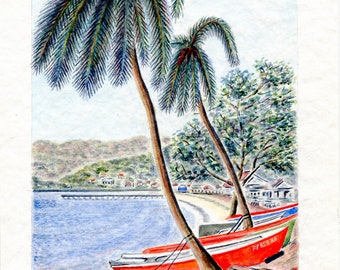 Limited number REPRODUCTION of my unique and original watercolor: handle of Arlet, Martinique.