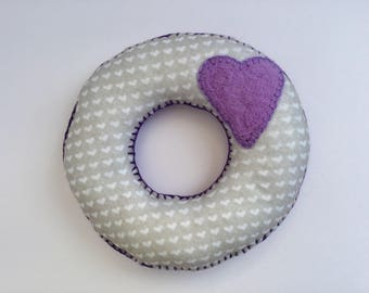 Large Handmade felt coaster with needle felted hearts detail