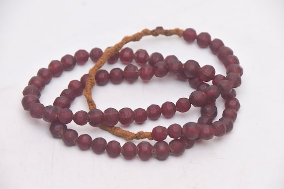 Handmade Cylindrical Beads Asian Jewelry Ehnic Necklace Beaded with Brown colored Glass Beads from Nepal