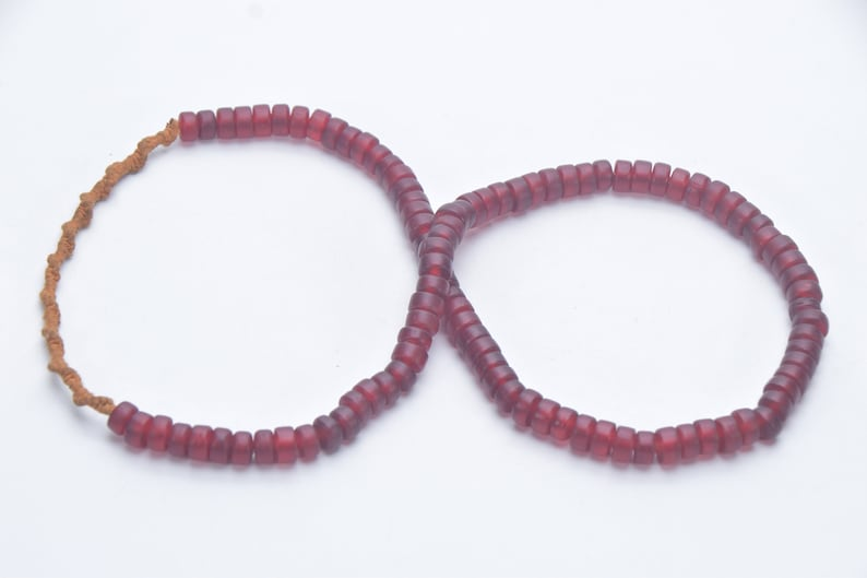 Folk Beads Tribal Jewelry Asian Naga Necklace Glass bead Necklace Unique Ethnic Necklace Handmade dark red colored tube shape Glass Beads