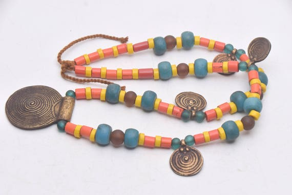 Traditional Ethinc Necklace Strand with brown Glass Beads from Nepal Ethnic Folk Jewelry Asian jewelry