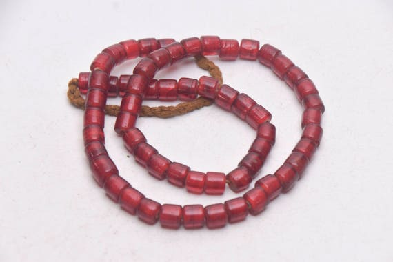 Folk Beads Ethnic Necklace with Handmade Cylindrical Varicolored Striped Textured Glass Beads from Nepal Tribal Jewelry Asia