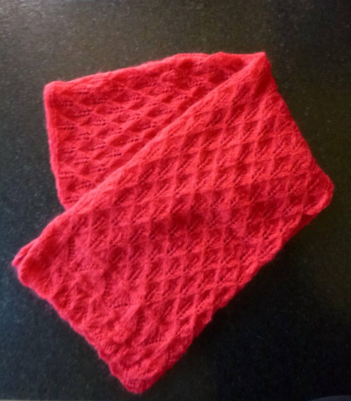 Gran bufanda roja de punto hecho a mano encaje de punto calado   Etsy