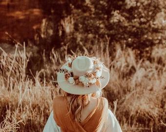 Flower Crown Hat For Boho Wedding, Wedding Flower Crown, Flower Girl Hat, Flower Crown Wedding, Dried Flower Hat, Bride Headpiece, Wedding