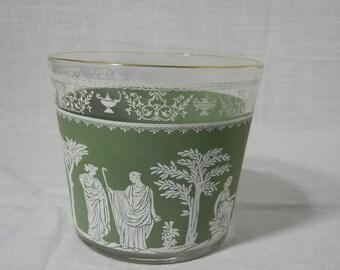 Jeannette Glass Green Hellenic Ice Bucket