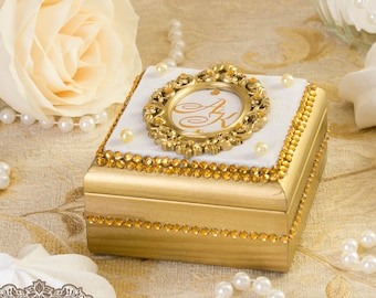 Gold ring box, Wedding ring box, Personalized ring box, Ring Bearer Box, Wood box, Gold ring bearer box, Ring bearer box