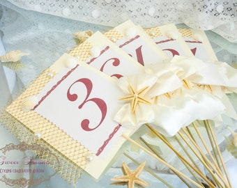 Beach Wedding Table Numbers, Wedding Table Numbers, Starfish Table Numbers, Beach Table Numbers, Sea Table Numbers, Table Number Cards