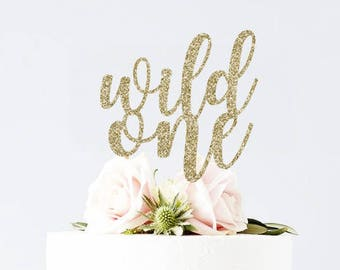 Wild One Cake Topper - where the wild things are birthday smash cake topper smash cake prop gold glitter shower bridal bachelorette wedding