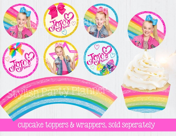 Printable Jojo Siwa Inspired Thank You Tags Birthday Cake