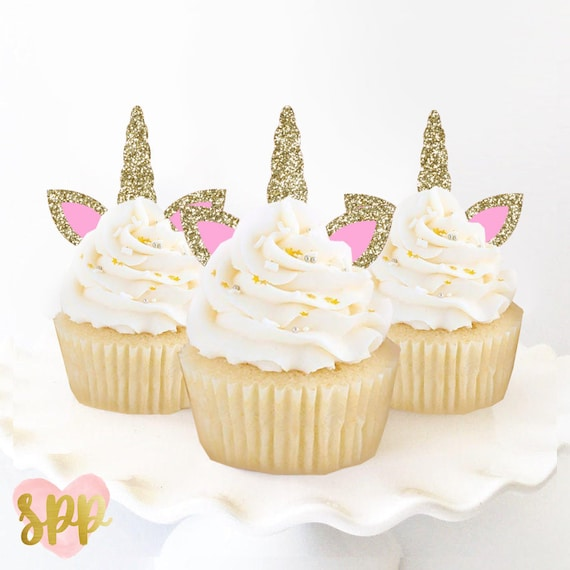 Unicorn Cupcake Toppers Birthday Cake Donuts Bridal Shower Etsy