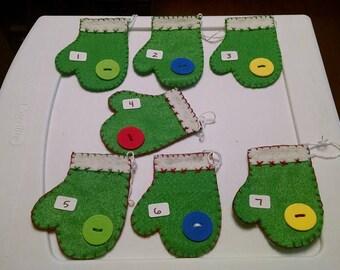 set of 7 handmade felt green mitten ornaments