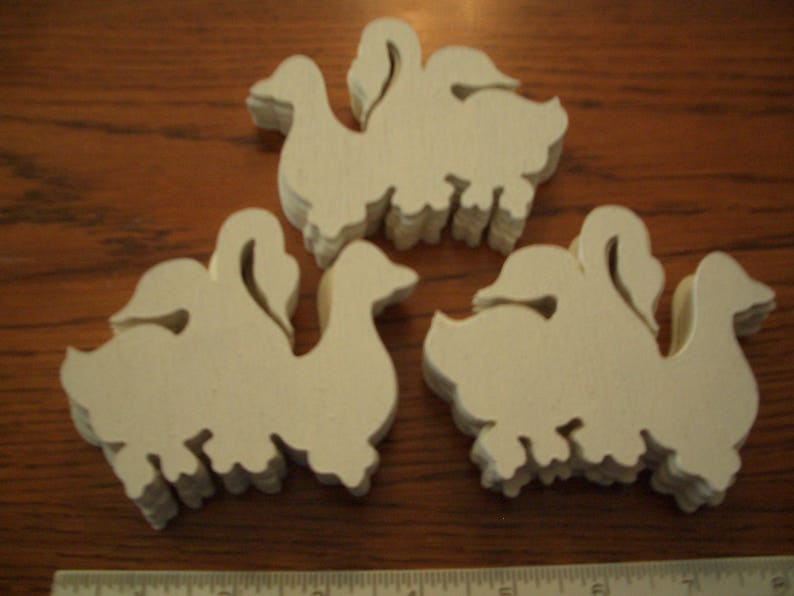 3-34 Wide /& 3-14 high for craft and woodworking projects 20 Triple Geese 18 Luan Wood Cutouts Painted White on 1 side