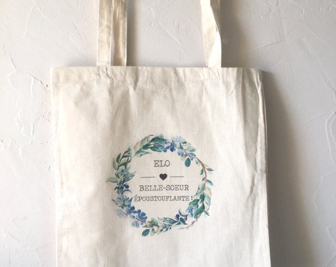 Tote Bag in cotton for a stunning sister! Gift birthday Christmas holiday family sister