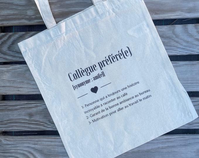 """Tote bag """"Favorite colleague"""" , tote bag, cotton canvas bag, color, canvas, gift, definition, friend"""