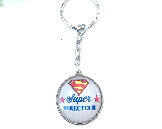 """""""Super Director"""" key holder made of metal, ideal for gift! Gift nurse nanny colleague Director"""