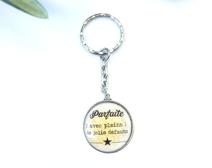 """Keychain """"Of beautiful qualities"""", perfect for gift! Perfect sparkling Dippy dreamy rebel Licornasse talkative scoundrel complainer"""