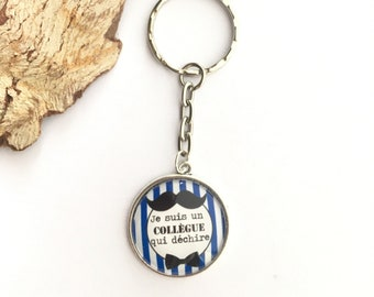 """Keychain """"I'm a colleague who rocks"""" metal, perfect for gift! Gift nurse nurse nanny colleague Director"""