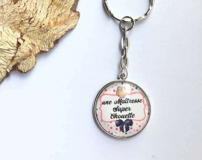 "Keychain ""OWL super teacher"" metal, perfect for gift! Gift nurse nurse nanny colleague Director"