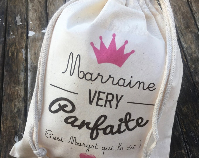 Large Gift Pouch for Godmother (Very perfect) with sliding link in cotton personalized to the first name of your choice!  Baptism Godfather