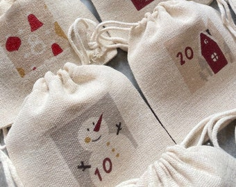 Eternal Advent calendar, 24 pouches, cotton fabric raw appearance! Traditional & magical countdown, Christmas, December,
