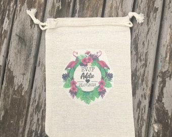 DrawString cotton pouch customized for bachelorette party name, date of your choice! Wedding party evening witness flamingos